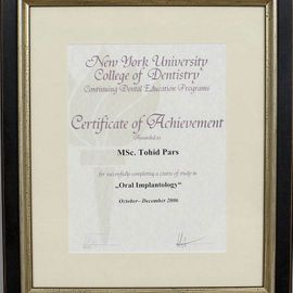 Certificate of Achievment, Herr Tohid Pars