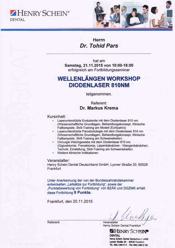 Zertifikat, Wellenlaengen Workshop Diodenlaser